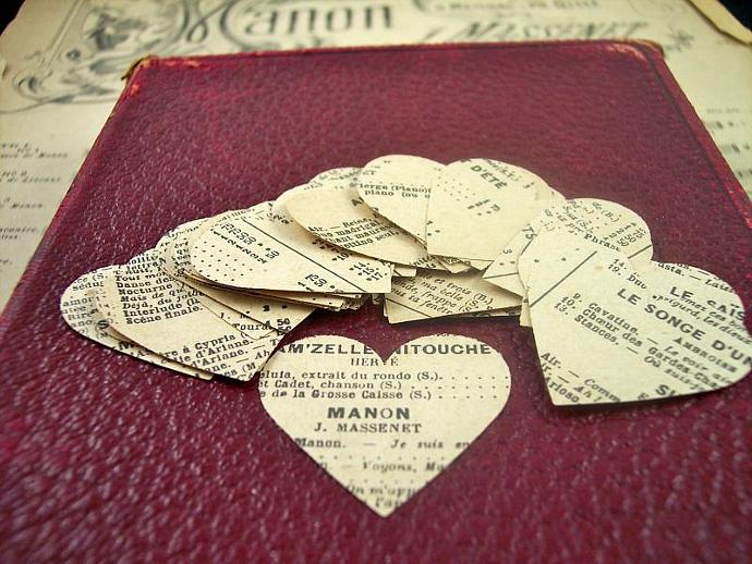 Early 1900's French Music And Word Paper Hearts