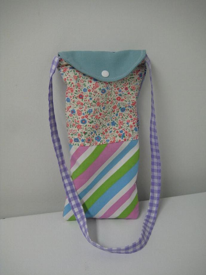 Festival Bag - Blue and Violet - Shoulder Strap - Long and Skinny - Patchwork