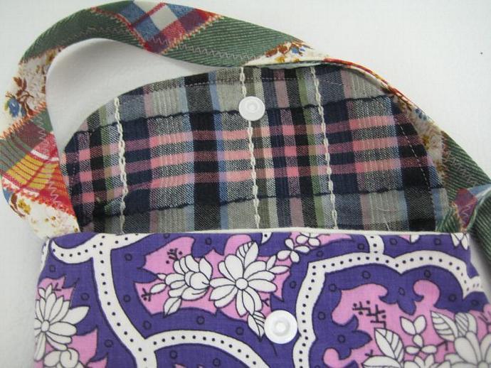 Festival Bag - Plaid and Floral - Shoulder Strap - Long and Skinny - Patchwork