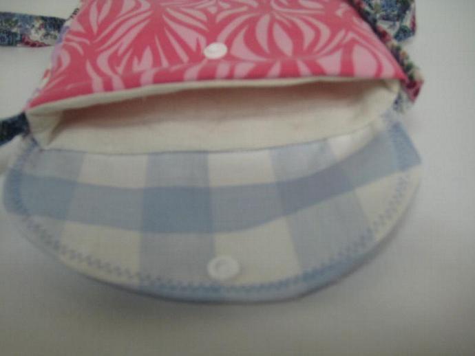Festival Bag - Blue and Pink - Shoulder Strap - Long and Skinny - Patchwork