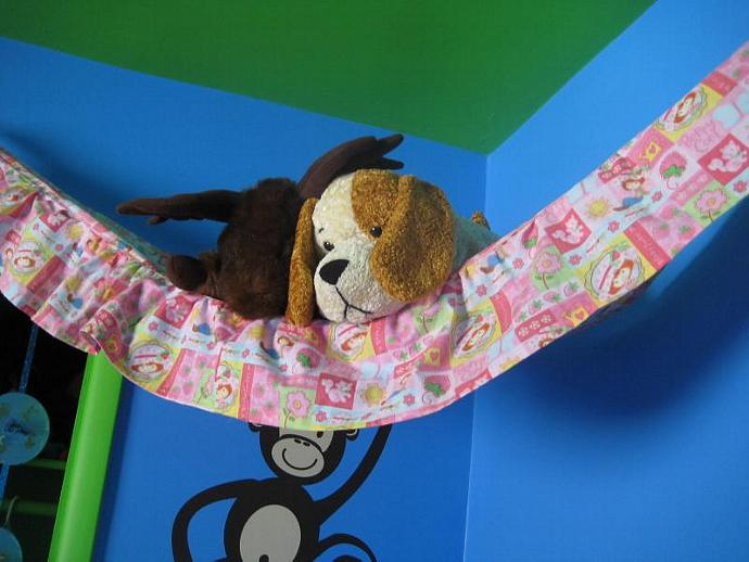 Berry Cool Teddy Bed - Toy Hammock- Size Large with Ruffle