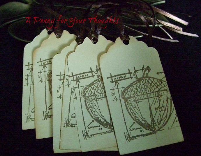 Acorn Blueprint Autumn Gift Tag Set