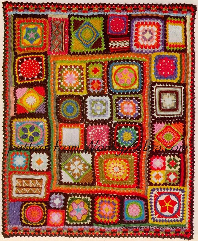 Vintage Crochet Pattern 195 PDF Afghan Granny Blanket from WonkyZebra