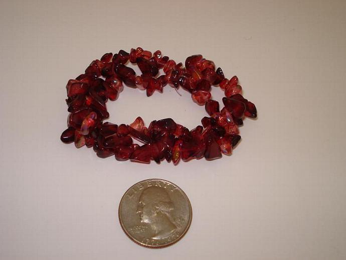 Cranberry Handmade Stretch Nugget Bead Bracelet