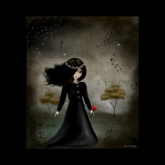 Steampunk Art Print -- In The Air -- 8x10 -- Goth Girl Art -- Dragonflies