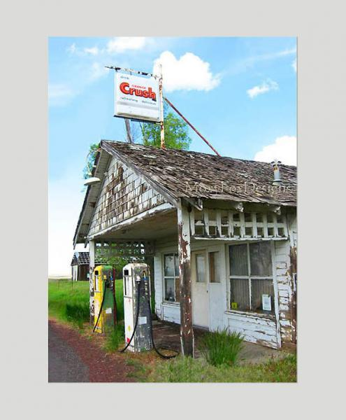 GAS STATION with Crush Drink Sign Fine Art Photo FREE US SHIPPING