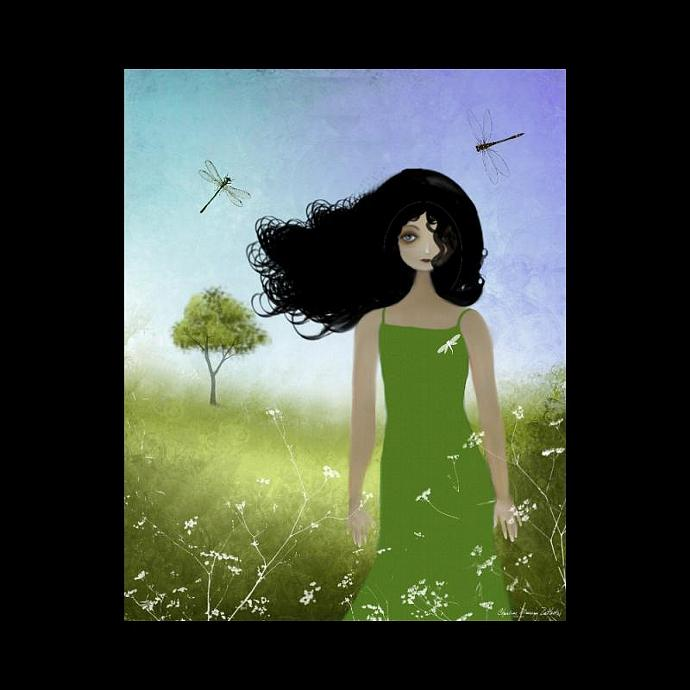 Melancholy Girl Art Print - Summer Breeze