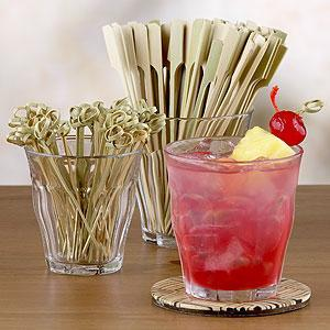 "3.5"" Inch Twisted Knotted Bamboo Cocktail Drink Party Appetizer Picks Toppers"