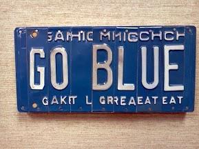 GO BLUE  License Plate Sign