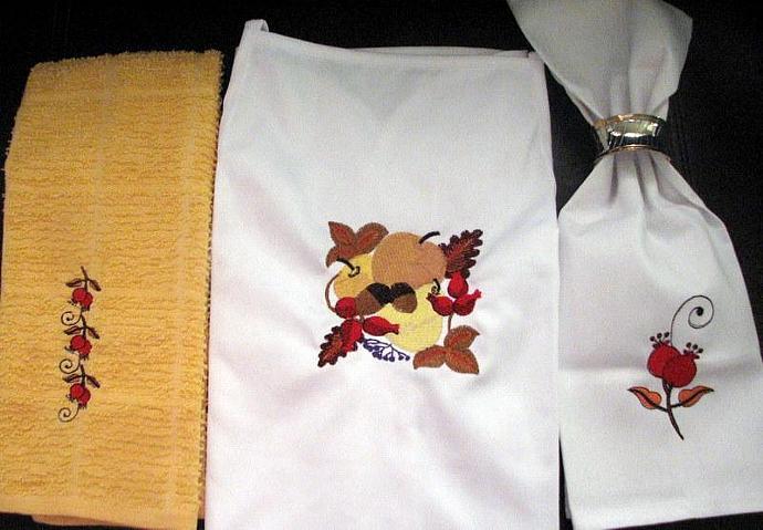 Set of 9 Embroidered Autumn linen set includes 6 napkins 2 dish towels 1 apron