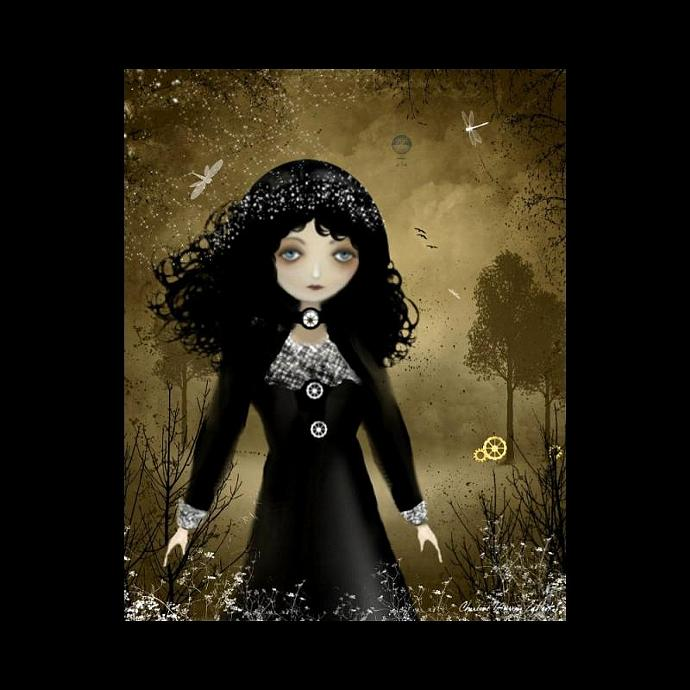 Digital Art Painting - Steampunk Art Print -- Pensive -- 8x10 -- Goth Girl Art