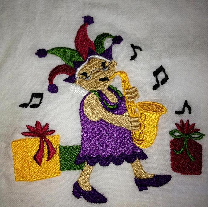 MARDI GRAS CHRISTMAS flour sack towels