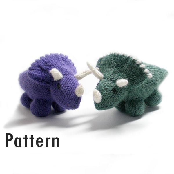 Free Dinosaur Knitting Pattern : Montezuma the Triceratops - Knitted Toy Dinosaur Morrgan