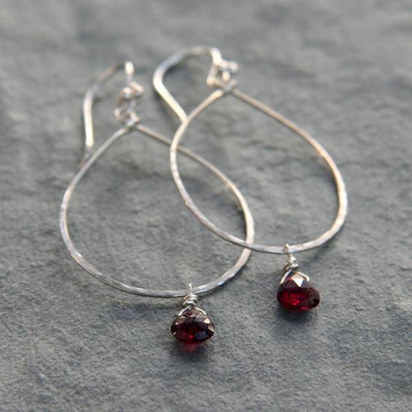 Silver Hoop and Garnet Drop Earrings