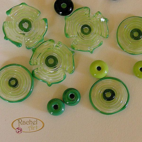 Flower Lampwork Beads, Butterflies Lampwork Flower Glass Beads, Handmade Flower
