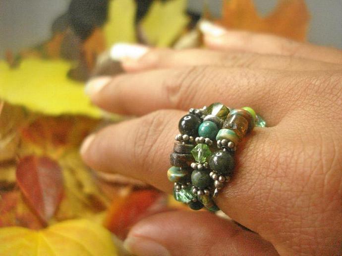 Earth Love Amber & Jade Ring