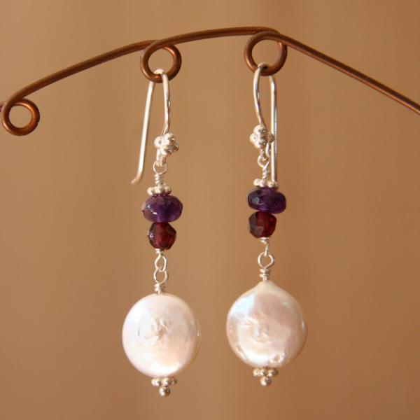 Pearl, Garnet and Amethyst Earrings
