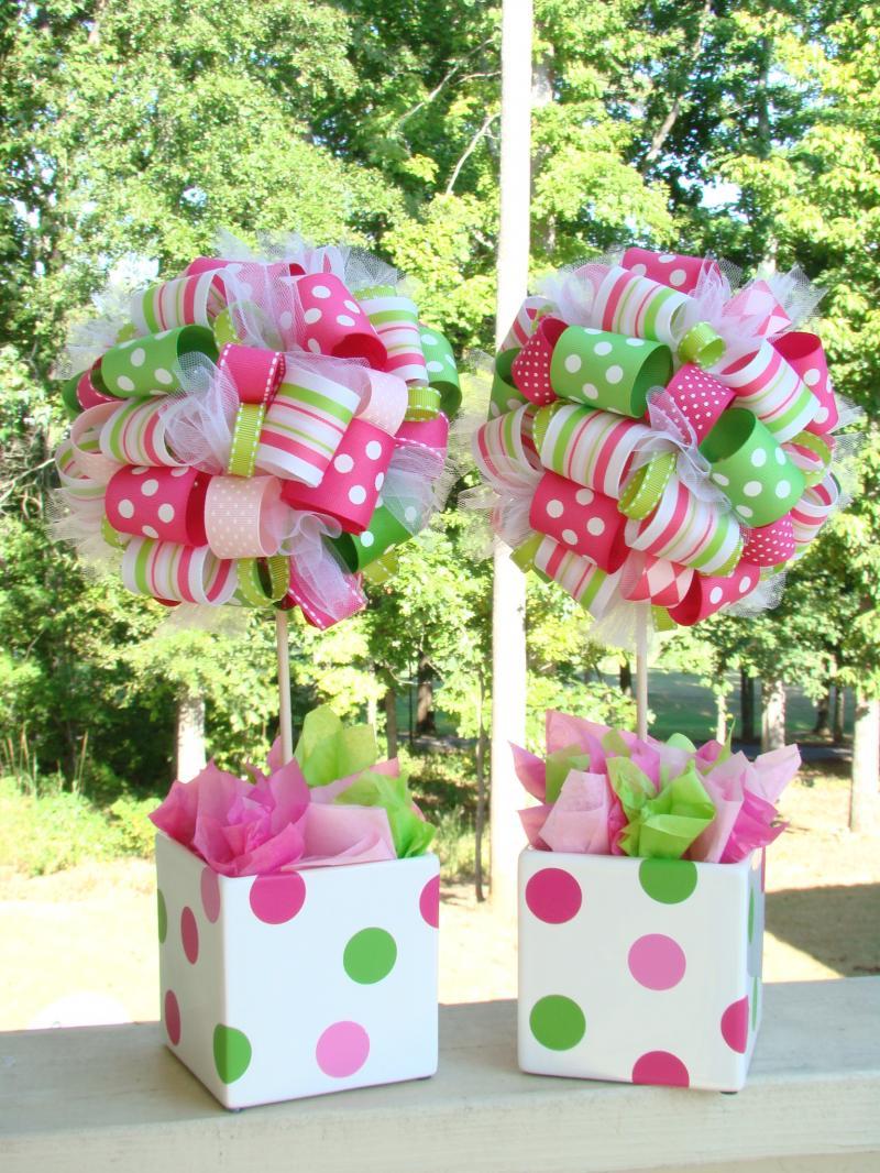 Strawberry shortcake ribbon topiary in lime by for Plantas decorativas amazon