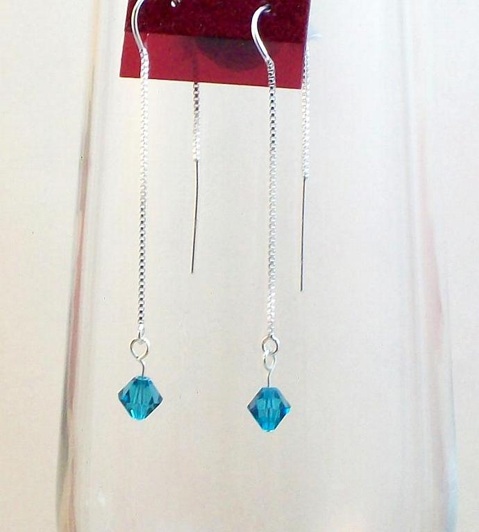Silver Ear Threads with Teal Crystal Earrings