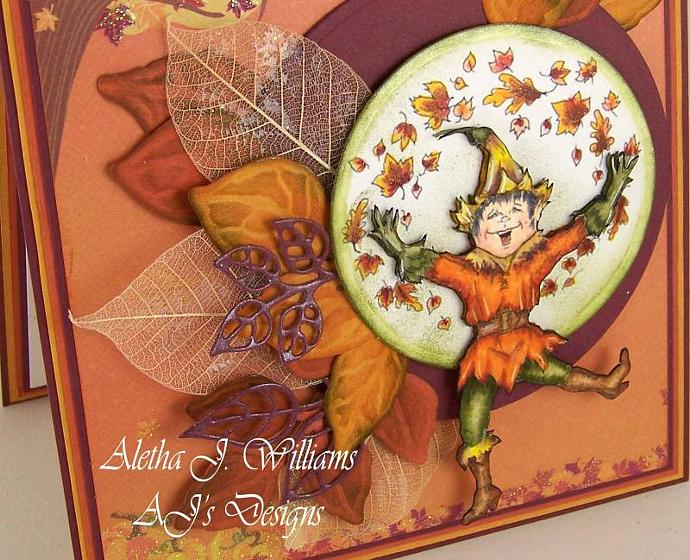 The Joy of Fall Fantasy Dancing Elf Handmade Art Greeting Card
