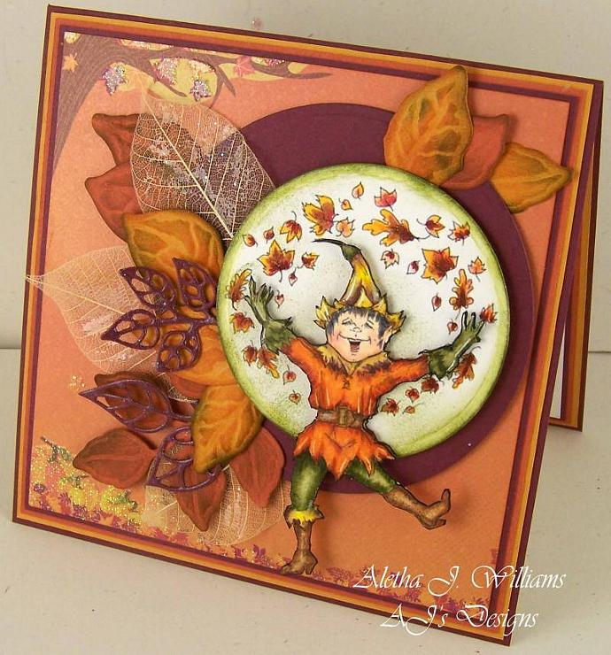 The Joy of Fall Fantasy Dancing Elf Handmade Art Greeting Card