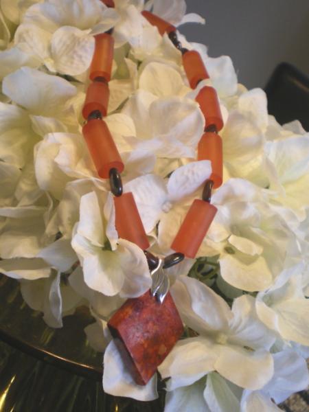 Jasper and resin necklace set