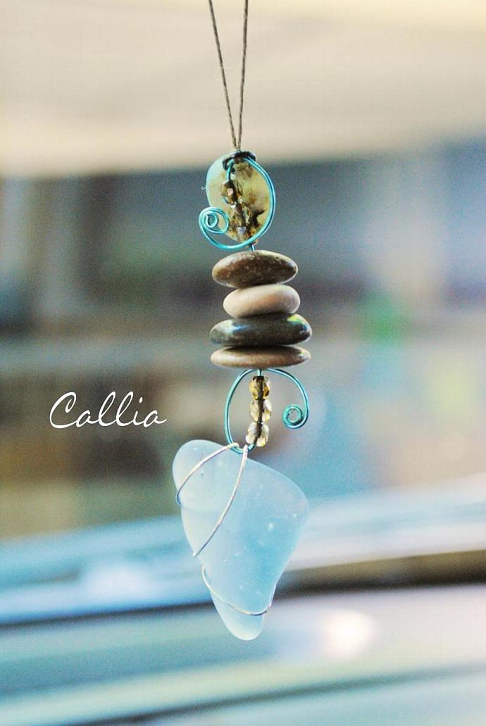 Sea Glass Rear View Mirror Charm - Beach Stones and Sea Glass, Car charm, Mirror
