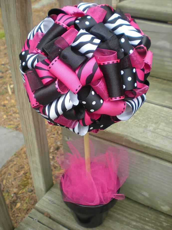 Ribbon topiary for zebra hot pink black by tangledribbon