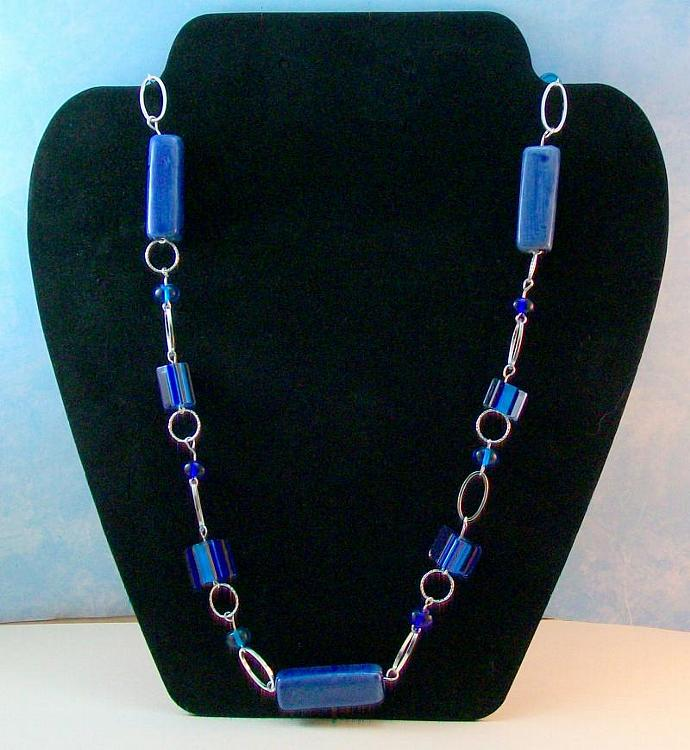 Blue Furnace Glass & Ceramic Beaded Necklace