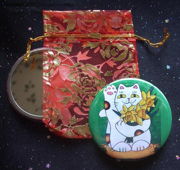 Daffodil Maneki Neko Lucky Cat Pocket Mirror & Descriptive Note Card