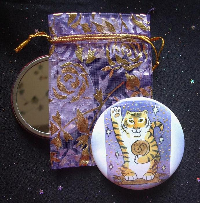 Tiger Luck Pocket Mirror & Descriptive Note Card
