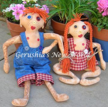 Zeb and Essy ~ Hand-Stitched Gnarly Dolls by Gerushia's New World