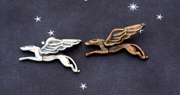 Soaring hound winged greyhound charm, sterling silver or bronze