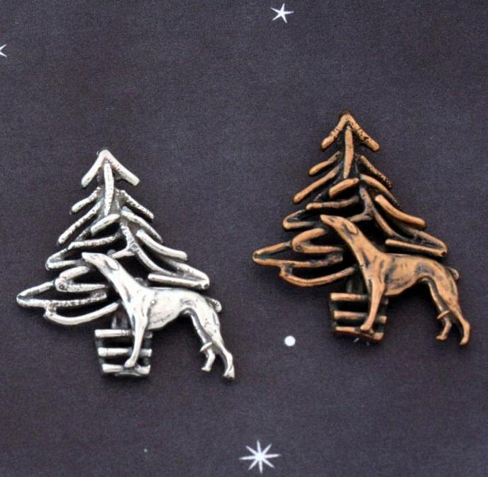 Greyhound and Christmas Tree pendant, sterling silver or bronze