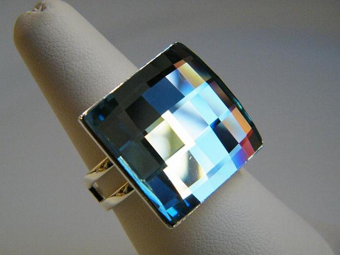Aquamarine Blue Square Ring Swarovski Crystal Silver Plated