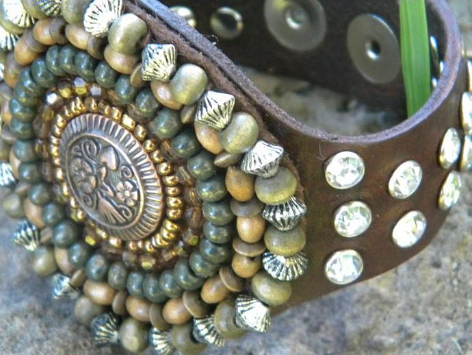 Gypsy Wood beaded Cuff