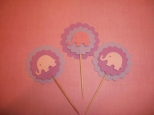 3D Baby Elephant Cupcake toppers/food picks/12ct