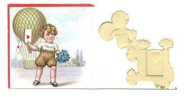 Vintage 1930s Valentine Greeting Card Swinging Door Boy Girl Germany