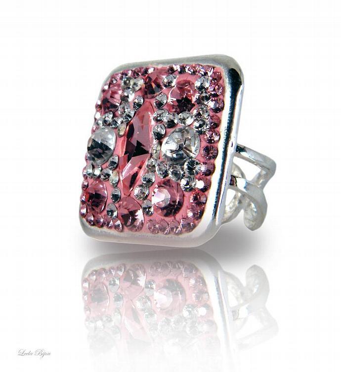 Pink Lady Ring - Swarovski Crystal Silver Plated
