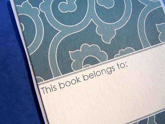 Set of 6 bookplates in Scrolls of blue