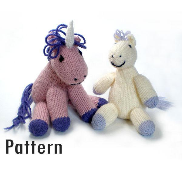 Knitting Pattern For Unicorn Toy : Lazy Pony and Grumpy Unicorn - Knitted Toy PDF Morrgan
