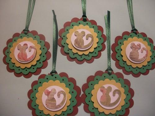 3D Christmas Mouse Gift Hang Tags/6ct