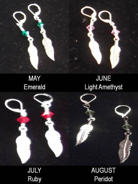 Birth crystal feather charm earrings