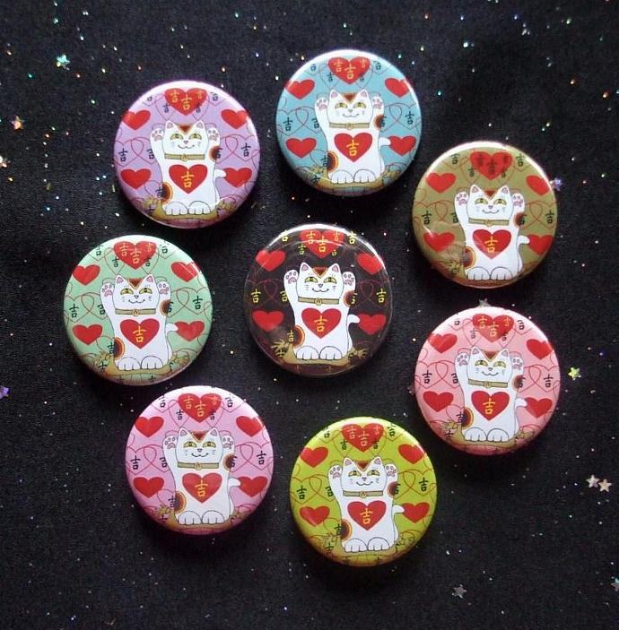 "Maneki Neko Japanese Lucky Cats I Heart Being Lucky 1.25"" MAGNETS Set of 8"