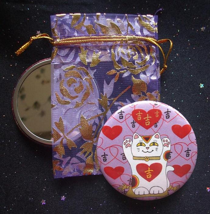 Maneki Neko I Heart Being Lucky Cat in Lavender Pocket Mirror