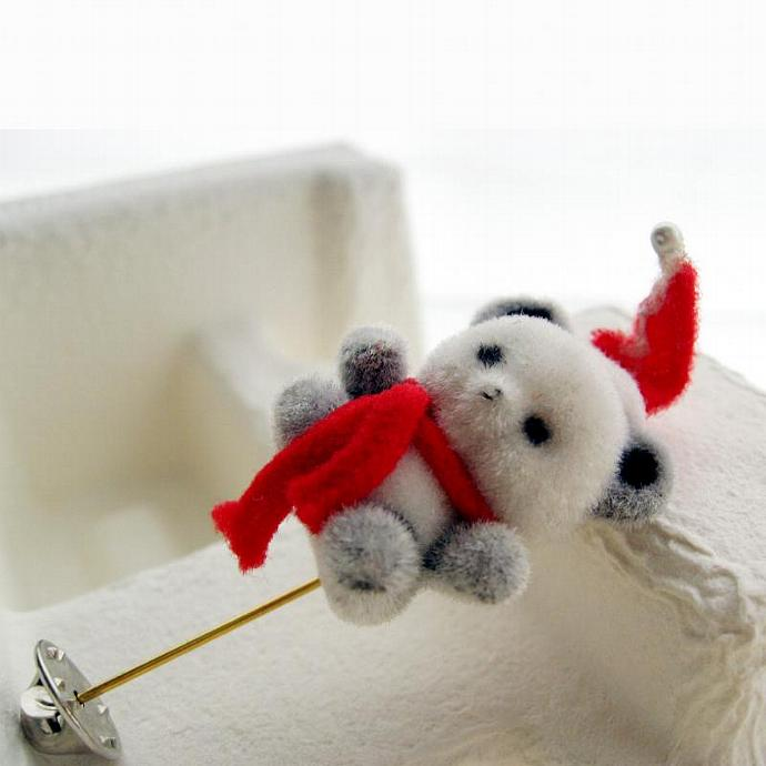 Vintage Stick Pin Brooch Christmas Bear with Santa Hat