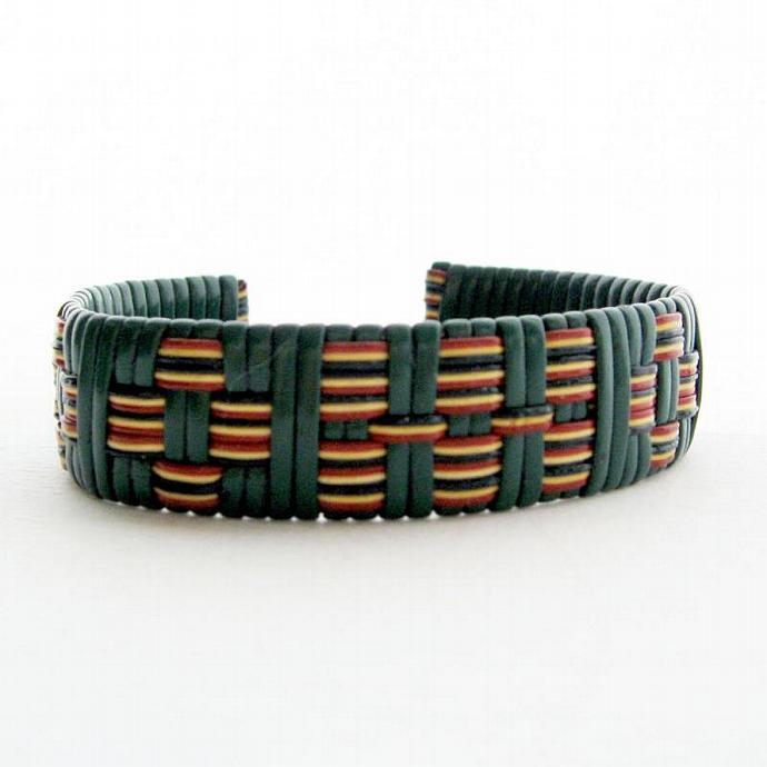 Vintage Woven Cuff Bracelet Green - Unisex