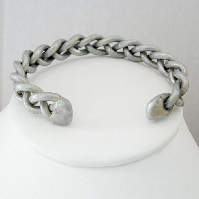 Vintage Braided Brushed Silver Tone Pewter Tone Cuff Bangle Bracelet - Unisex