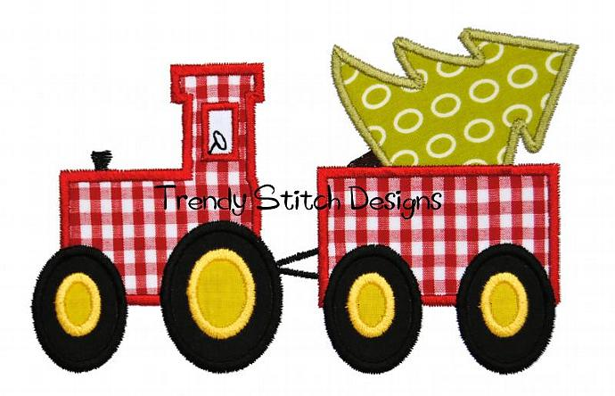 Tractor with Tree Applique Machine Embroidery Design