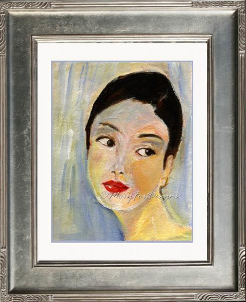 Art -- HER EYES  Portrait Young Woman Look of Love Impressionistic Yellow Black